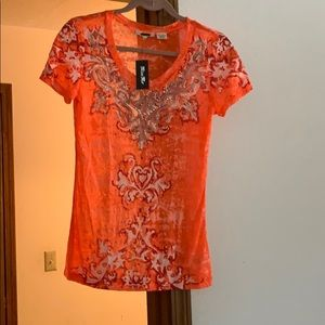 New top orange with bling